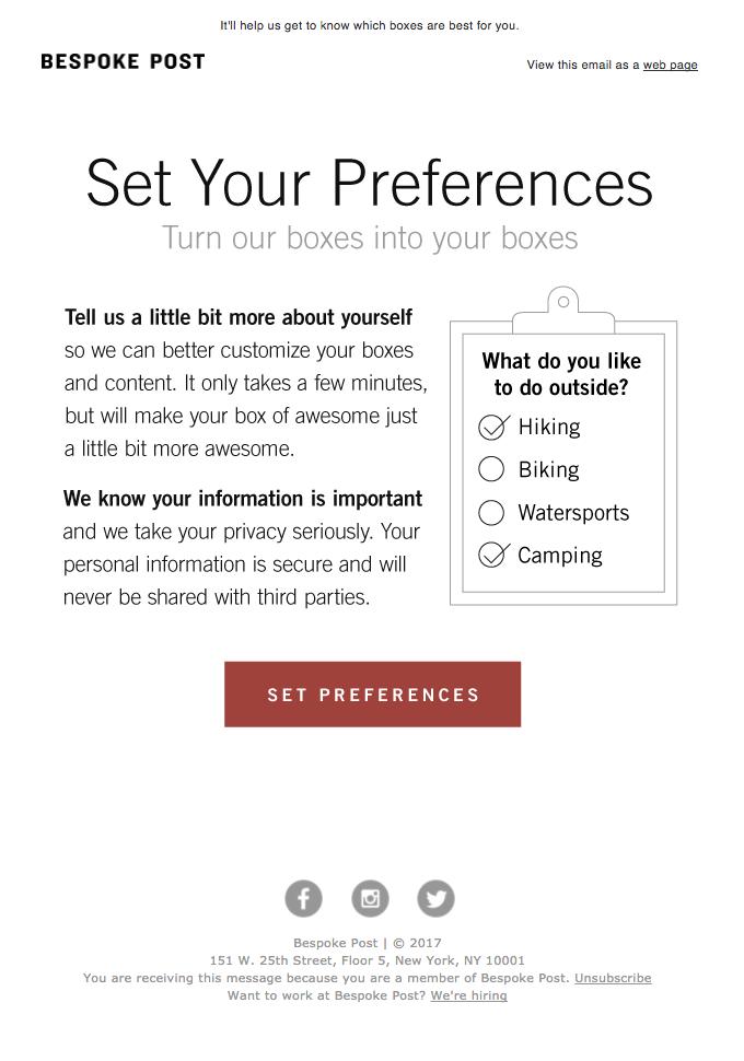 esempio di email indica le tue preferenze