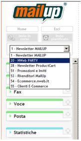 Esempio di console MailUp con differenti Liste configurate.