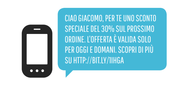 Un esempio di SMS flash sale