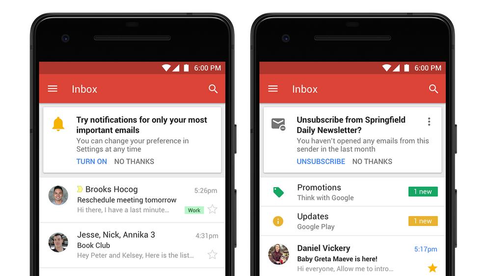 I suggerimenti di disiscrizione su Gmail