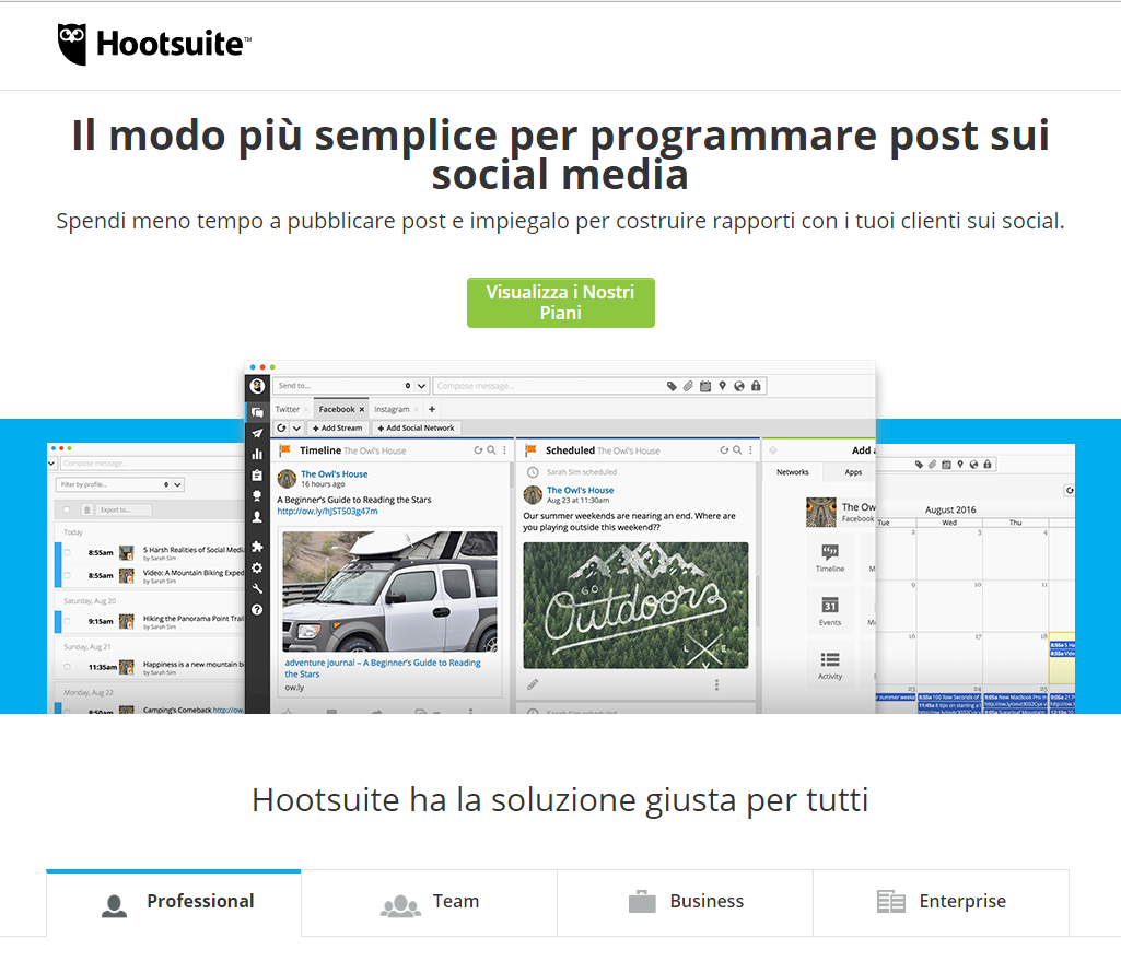 Landing page Hootsuite