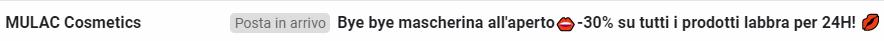 Mulac oggetto email bye bye mascherina