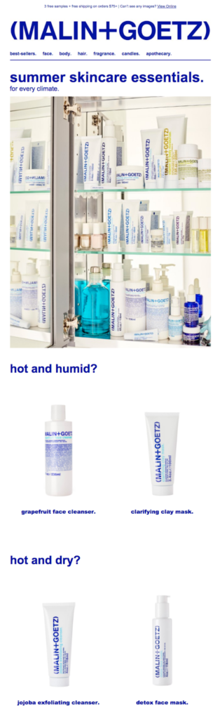 maling + goetz skincare summer essentials email