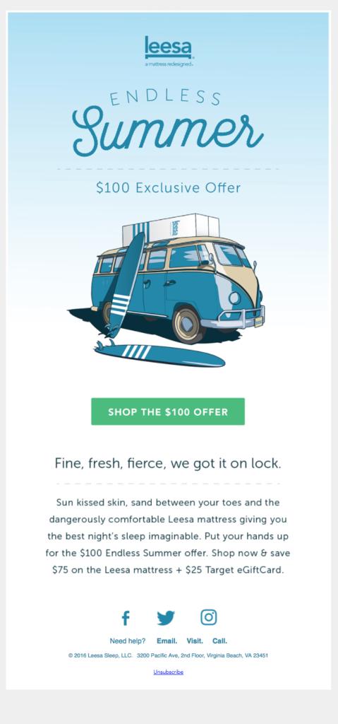 leesa email per l'estate esempio di font