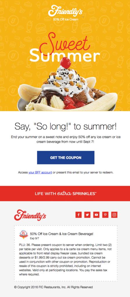 friendly's email per l'estate esempio di font