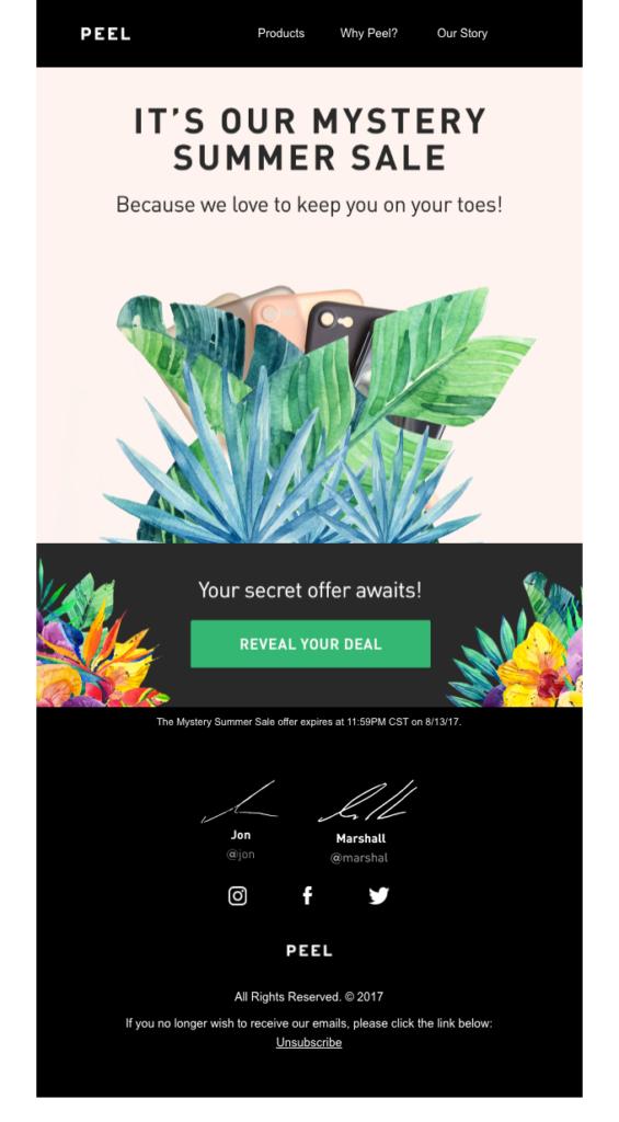 peel migliore email dell'estate esempio