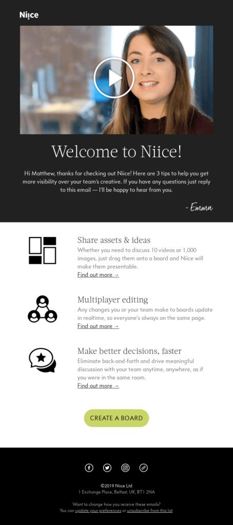 esempio email di benvenuto non profit