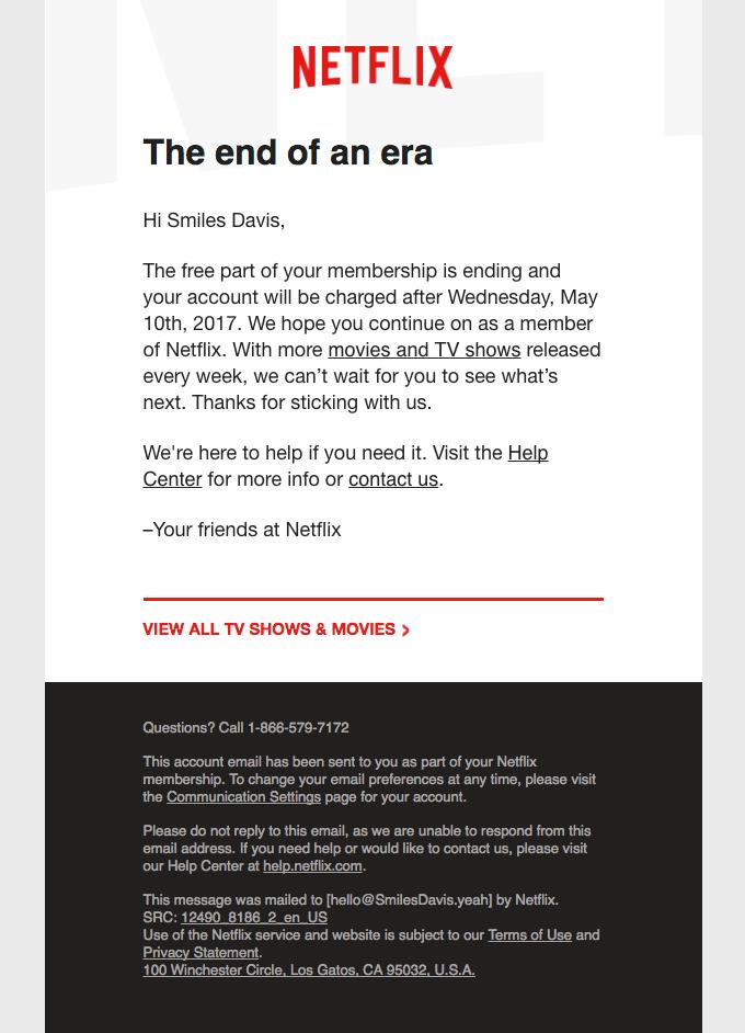 Netflix la fine di un'era winback email