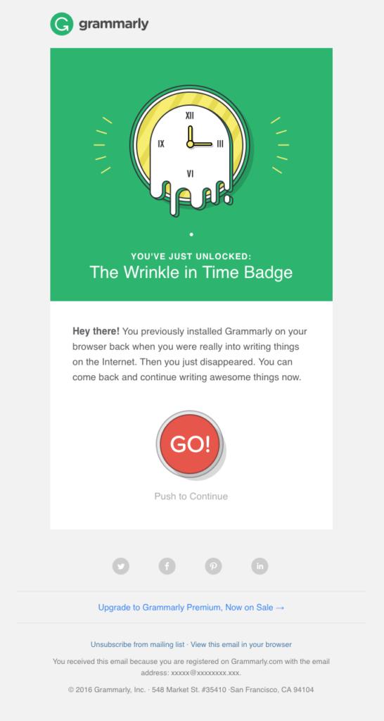 Grammarly winback email esempio