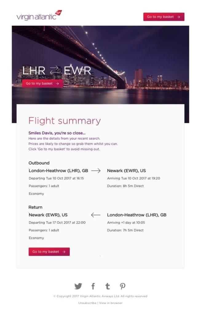 email di recupero carrello settore travel
