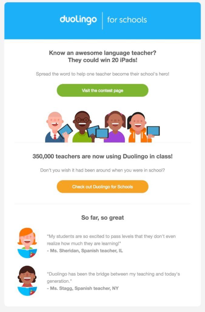 duolingo esempio email e recensione