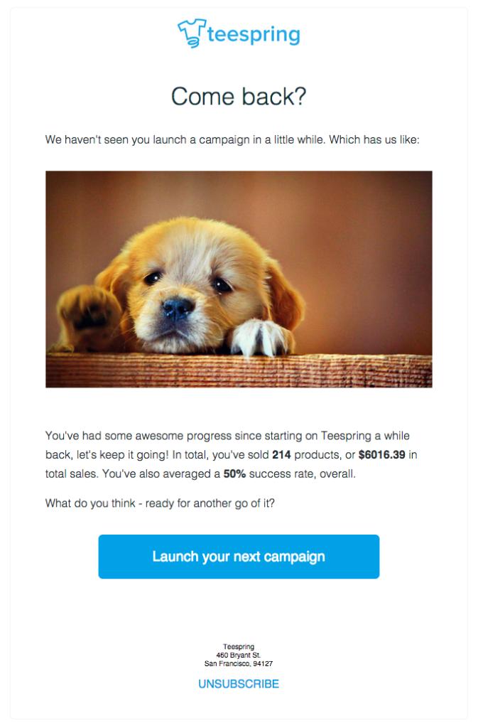 email di esempio strategia di re-engagement