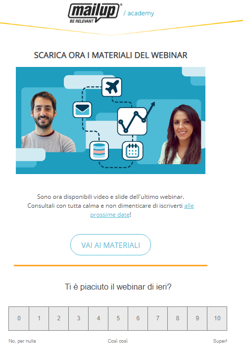 esempio email post webinar