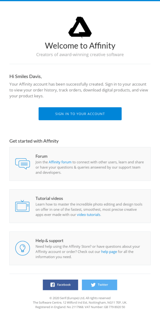 affinity email di benvenuto