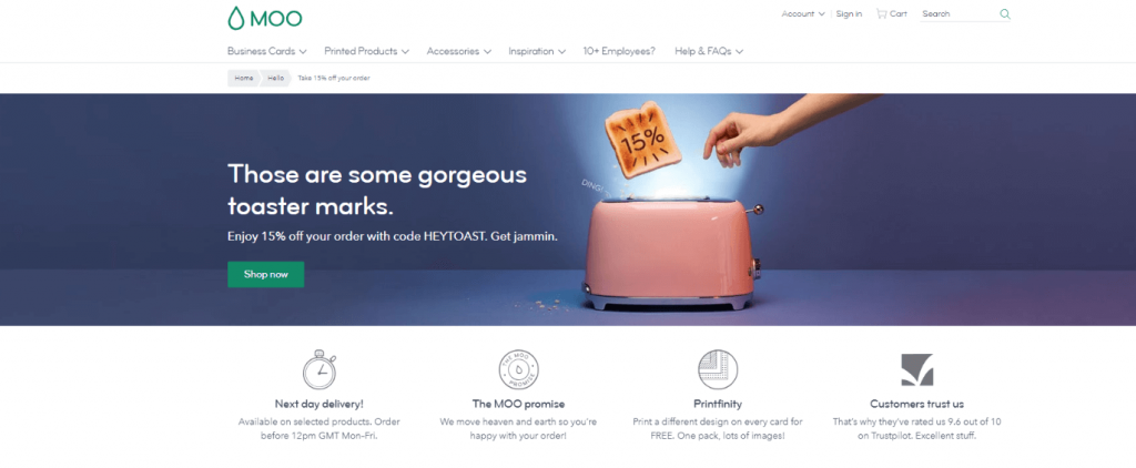 moo landing page example