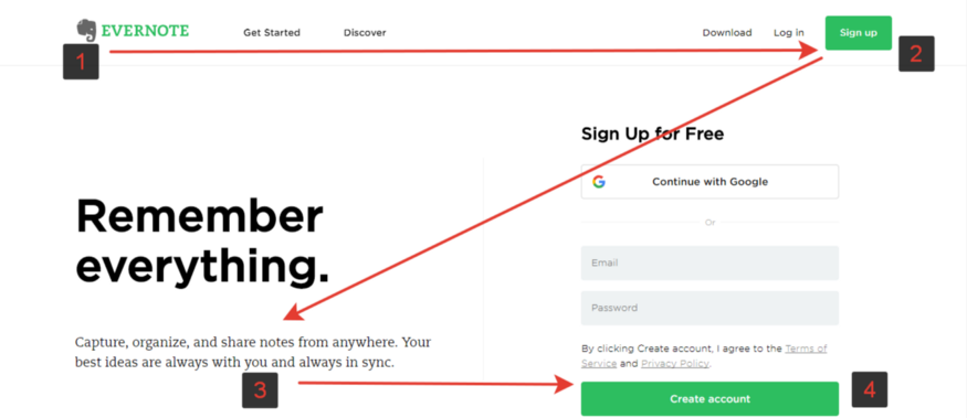 schema a z evernote landing page example