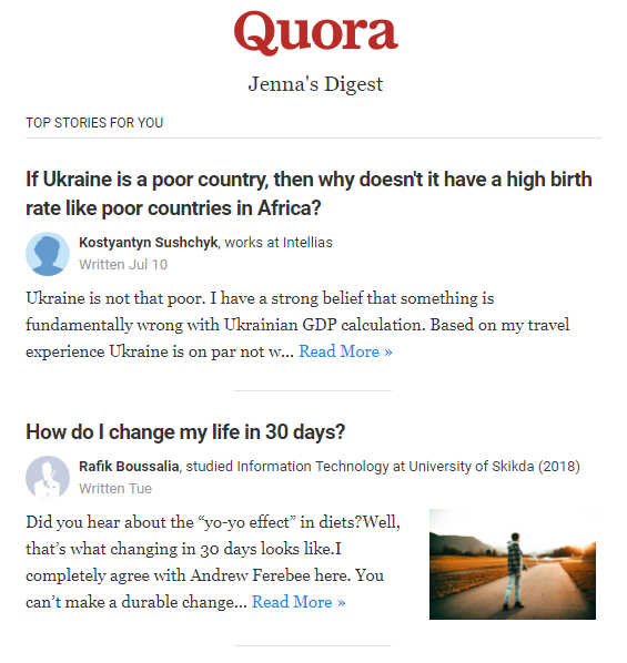 L'email di Quora