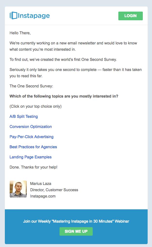 L'email di invito sondaggio di Instapage