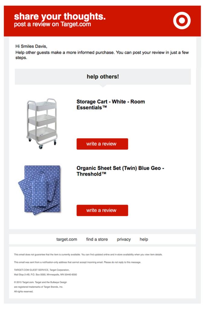 esempio di email recensione prodotti