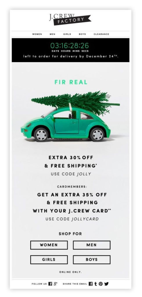 J Crew timer email