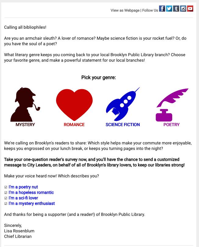 L'email di invito sondaggio di Brooklyn Public Library