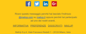 Link disiscrizione email MailUp