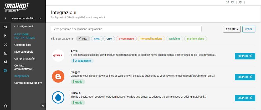 La pagina Integrazioni in piattaforma
