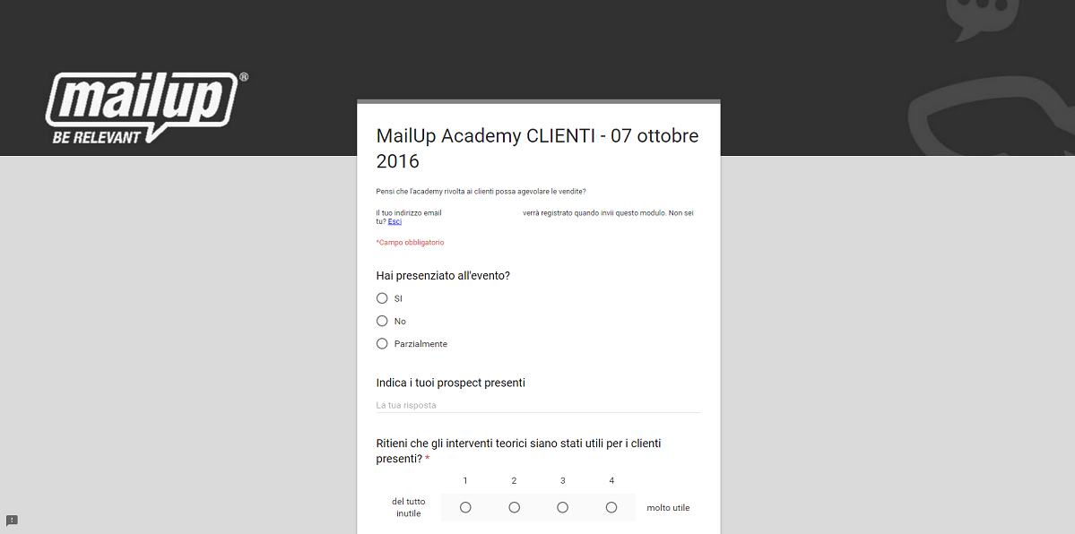 Il modulo post-webinar di MailUp.