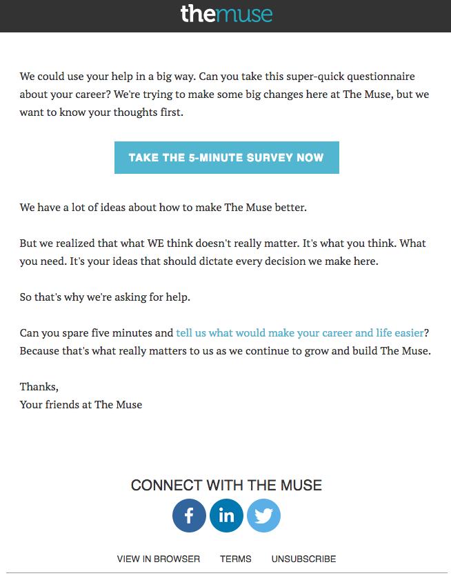 L'email di invito sondaggio di Muse