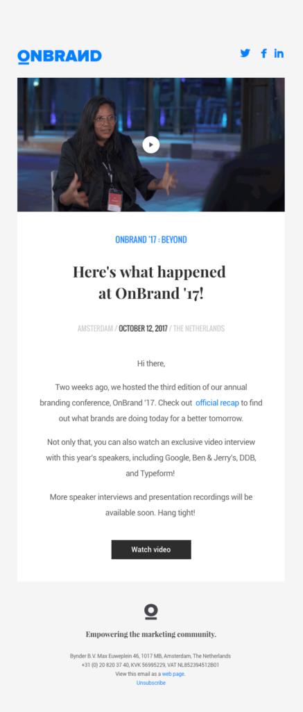 Un esempio di email con anteprima del video