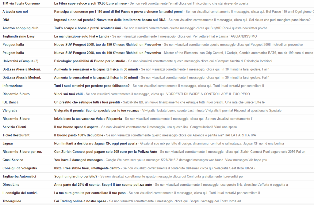 parole spam gmail mailup