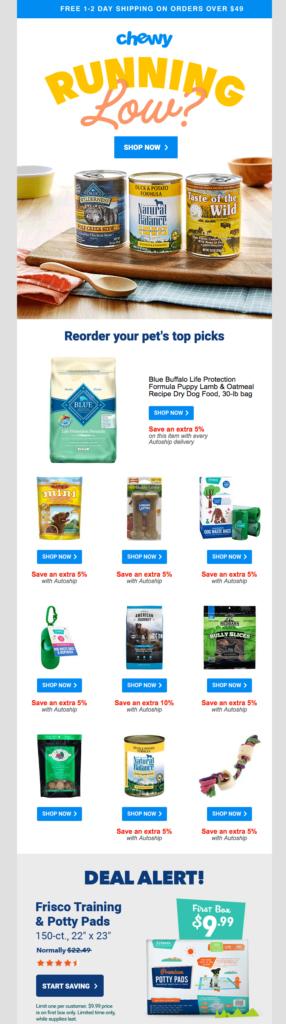 esempio di email per riacquisto prodotti