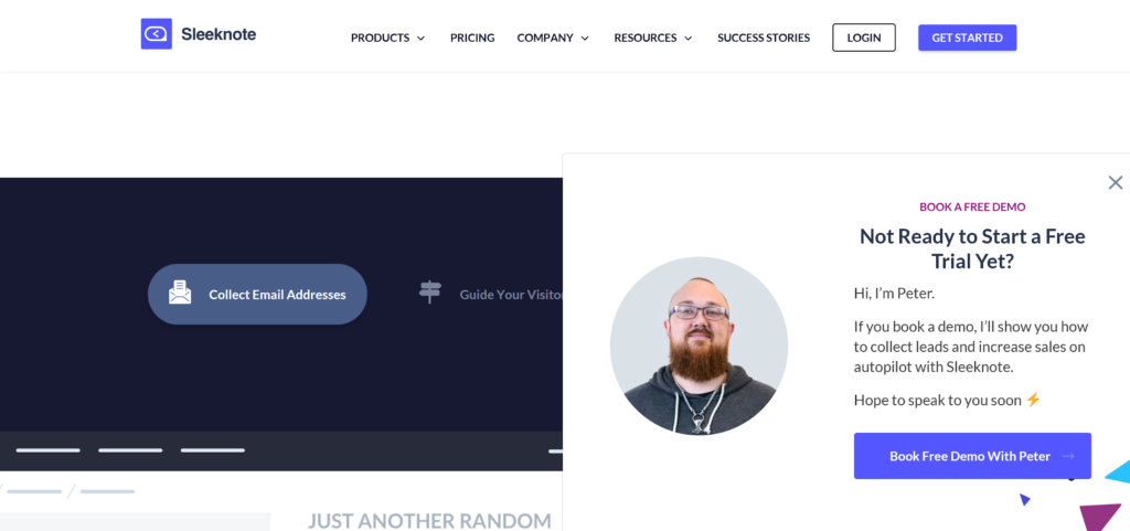L'homepage di Sleeknote