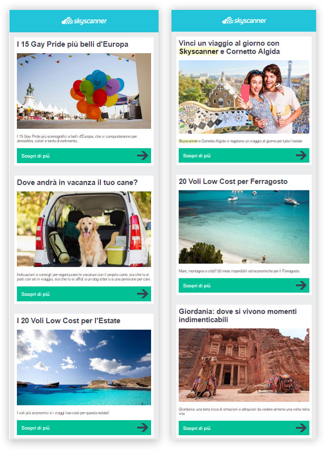 Skyscanner email estate MailUp