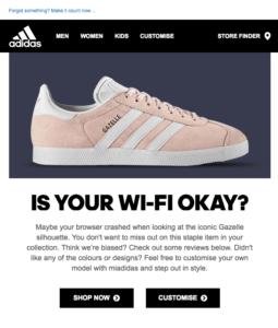 L'email di recupero carrello di Adidas