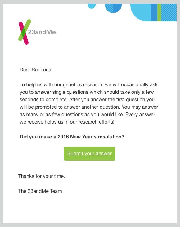 L'email di invito sondaggio di 23andMe