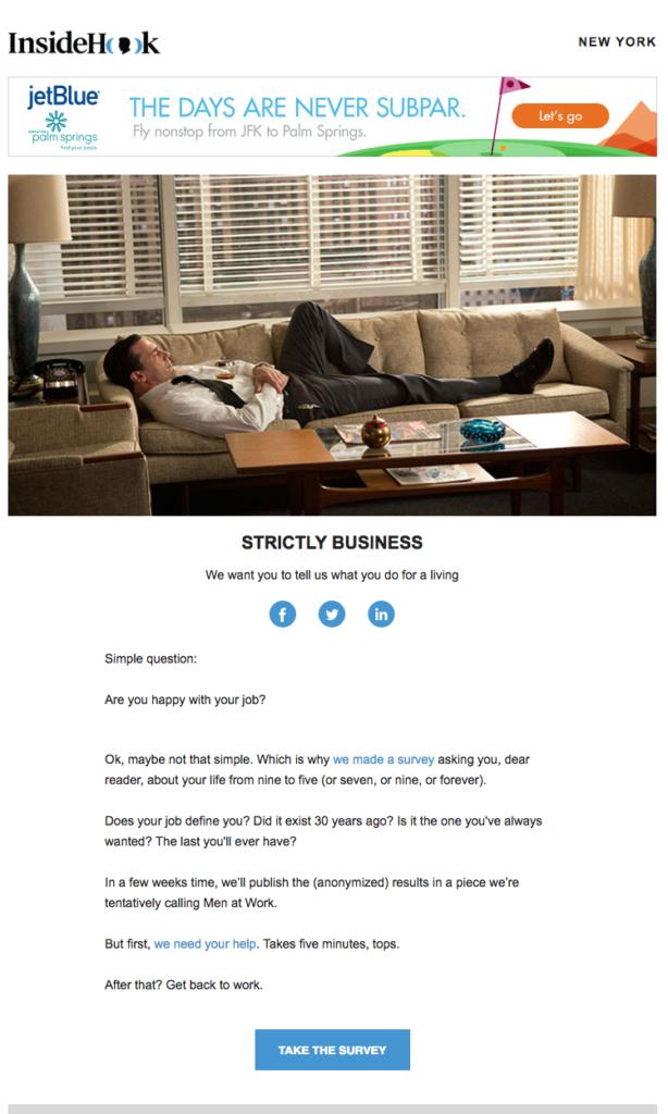 L'email di invito sondaggio di nsideHook