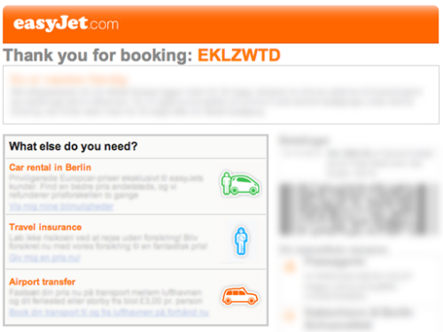 La thank-you email di easyJet