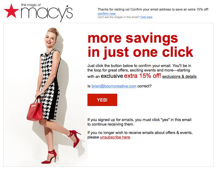 L'email di conferma iscrizione di Macy's