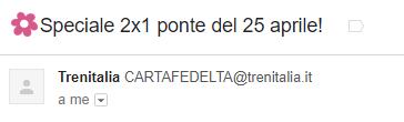 L'email con emoji di Trenitalia