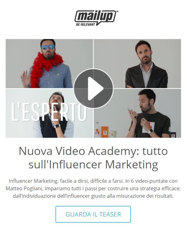 Un esempio di newslettere con anteprima di video