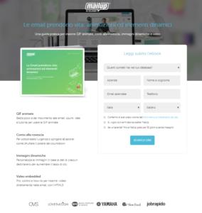La landing page per il download di contenuto